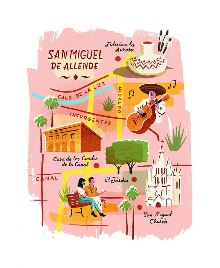 Map of san miguel de allende by owen gatley mountains for Bright illustration agency