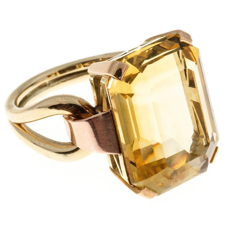 Retro Yellow Citrine Pink Green Gold Ring   From a unique collection of vintage fashion rings at https://www.1stdibs.com/jewelry/rings/fashion-rings/