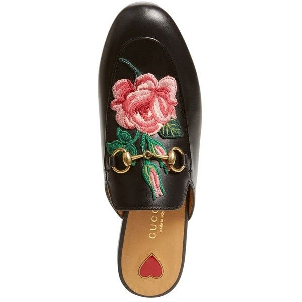 Women's Gucci 'Princetown' Embroidered Mule Loafer ($750) ❤ liked on Polyvore featuring shoes, loafers, slip-on loafers, loafer mule, horse bit loafers, slip on mules and slip-on shoes