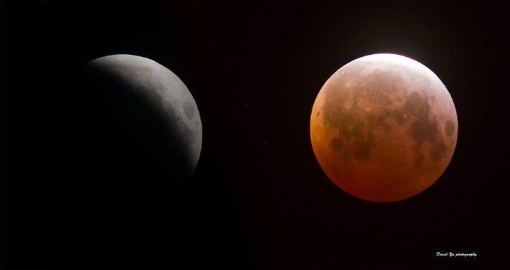 Lunar Eclipse - two views - taken brom Treasure Island, San Francisco. 2015-04-04. (Credit: David Yu)