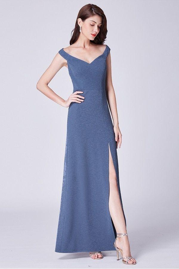 Arya Off Shoulder Split Formal Dress in Slate Blue. Elegant off the  shoulder maid of honor dress. Formal evening dress for Christmas parties. 0afb9858f
