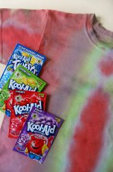 use kool-aid to tye dye clothes (also use it for easter eggs) no more expensive kits to buy!!!!