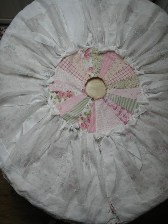 Christmas Tree Skirt Shabby Chic Victorian by paintedquilts