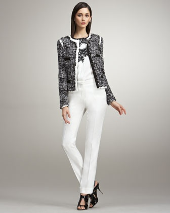 Tweed-Front Jacket, Bamboo-Print Blouse & Cropped Narrow Trousers by Peter Som