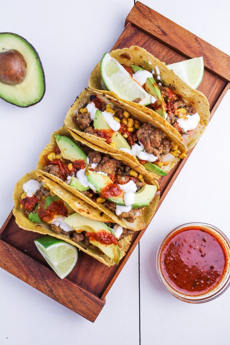 Corn and Chorizo Tacos with Avocado, Cheddar, Sour Cream and Salsa {Katie at the Kitchen Door}