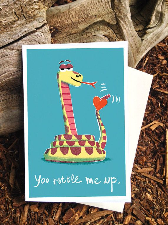 "Rattle Snake Love Card - ""You Rattle Me Up"" by Pickle Punch"