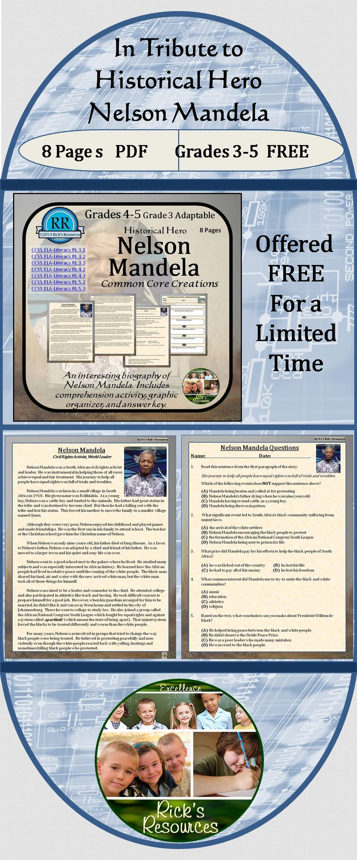As a tribute to the late Nelson Mandela, I am offering the Nelson Mandela Reading Activities FREE for a limited time. This is taken from the Historical Heroes Packet - which includes biographies of eight worldwide heroes. This biography on Nelson Mandela includes reading comprehension activities, answer key and graphic organizer. 8 Pages. Appropriate for grades 3-5.
