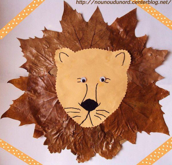 Lion aux feuilles d'automne réalisée par Axelle