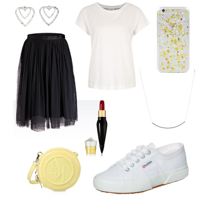 Modernes Outfit - #ootd #outfit #fashion #oneoutfitperday #fashionblogger #fashionbloggerde #frauenoutfit #herbstoutfit - Frauen Outfit Outfit des Tages Sommer Outfit Anhänger Armani Armani Jeans Cheap Monday Christian Louboutin Beauty Halskette iPhone-Hülle Jeans Lippenstift modern Ohrring Ohrringe Pilgrim rot SKINNYDIP Sneaker Superga T-Shirt TomShot Umhängetasche weiss