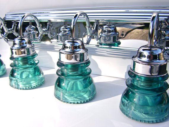 One of a Kind Insulator Blue Vanity Light Vintage Vanity Lighting Handmade insulator light Bathroom Lighting Sink Lighting Antique sconces
