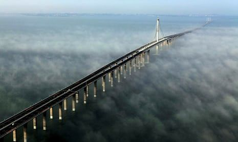 An aerial image of the Jiaozhou Bay bridge in Qingdao
