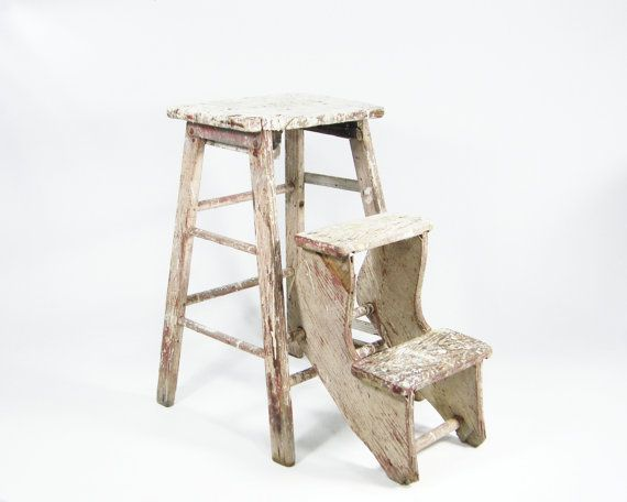 Chippy Wooden Step Stool Vintage Folding Ladder By
