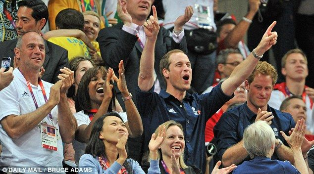 Sir Steve Redgrave, Denise Lewis, Prince William and Prince Harry cheer for the triumphant Team GB gymnasts