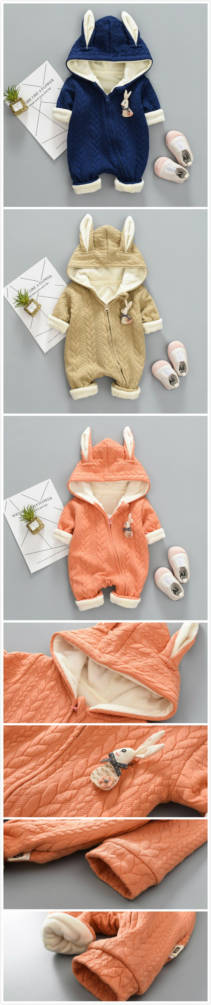 Solid Color Baby Rabbit Ear Warm Hooded Jumpsuit