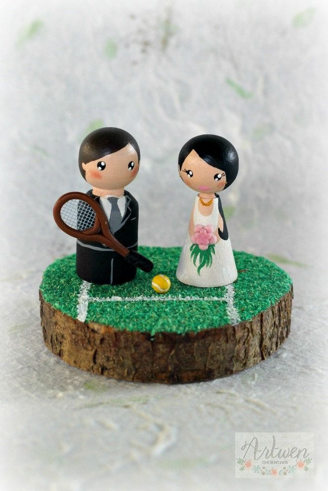 Customizable peg doll wood cake topper, bridal, wedding, topper by ArtwenShop on Etsy