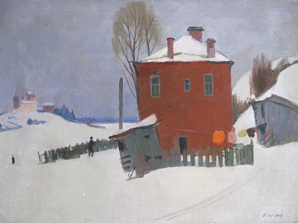 Осипов Сергей Иванович (1915-1985) Зима-Старая Ладога, 70-е гг.
