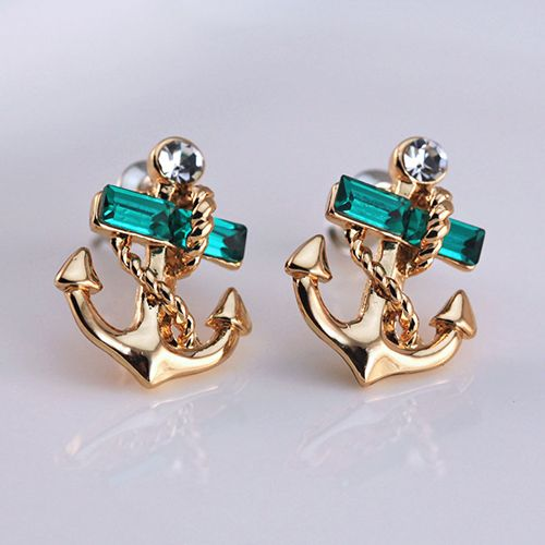 Cheap earring dangle, Buy Quality earring frame directly from China jewelry bamboo Suppliers: 1 Pair Women's Jewelry Lake Blue Crystal Rhinestone 9K Gold Plated Anchor Design Earring StudsThis pair of earring studs