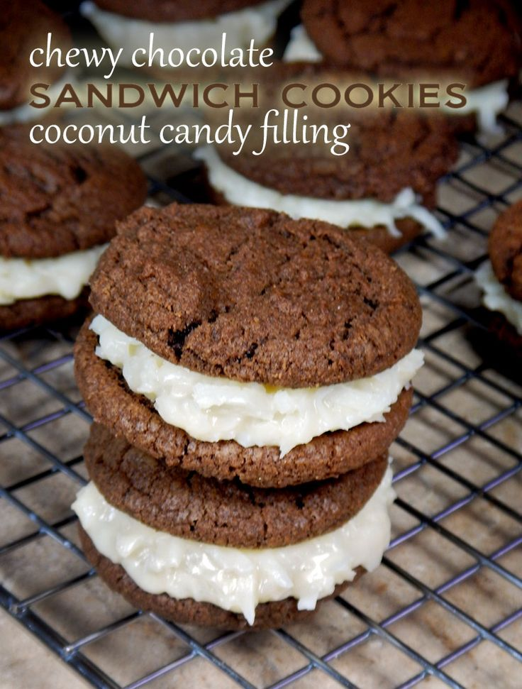Chewy chocolate cookies with coconut candy filling. These taste like they are stuffed with Almond Joy or Mounds candy centers!