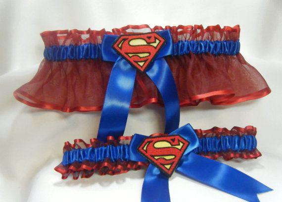 Handmade superman wedding garters red and by SheerSatinandLace