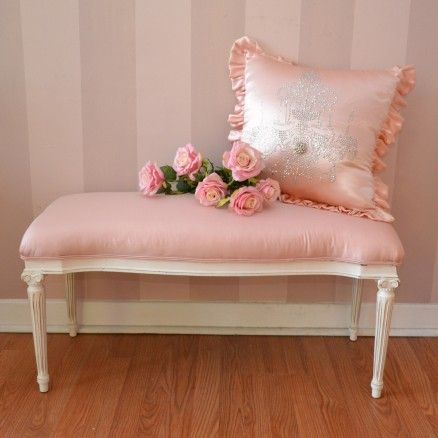 Darling Roman Inspired Pink Silk Bench $325.00 #thebellacottage #shabbychic #SALE