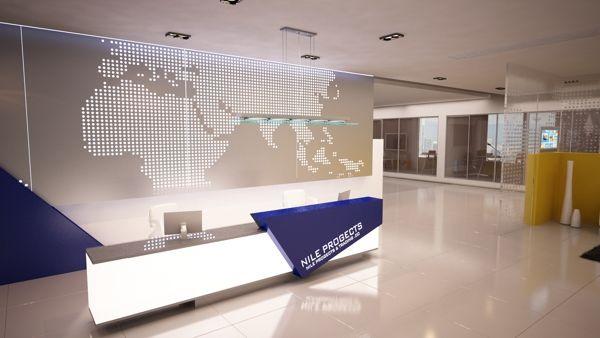 Company Reception Counter Design by Bahaa Eldien Mostafa, via Behance