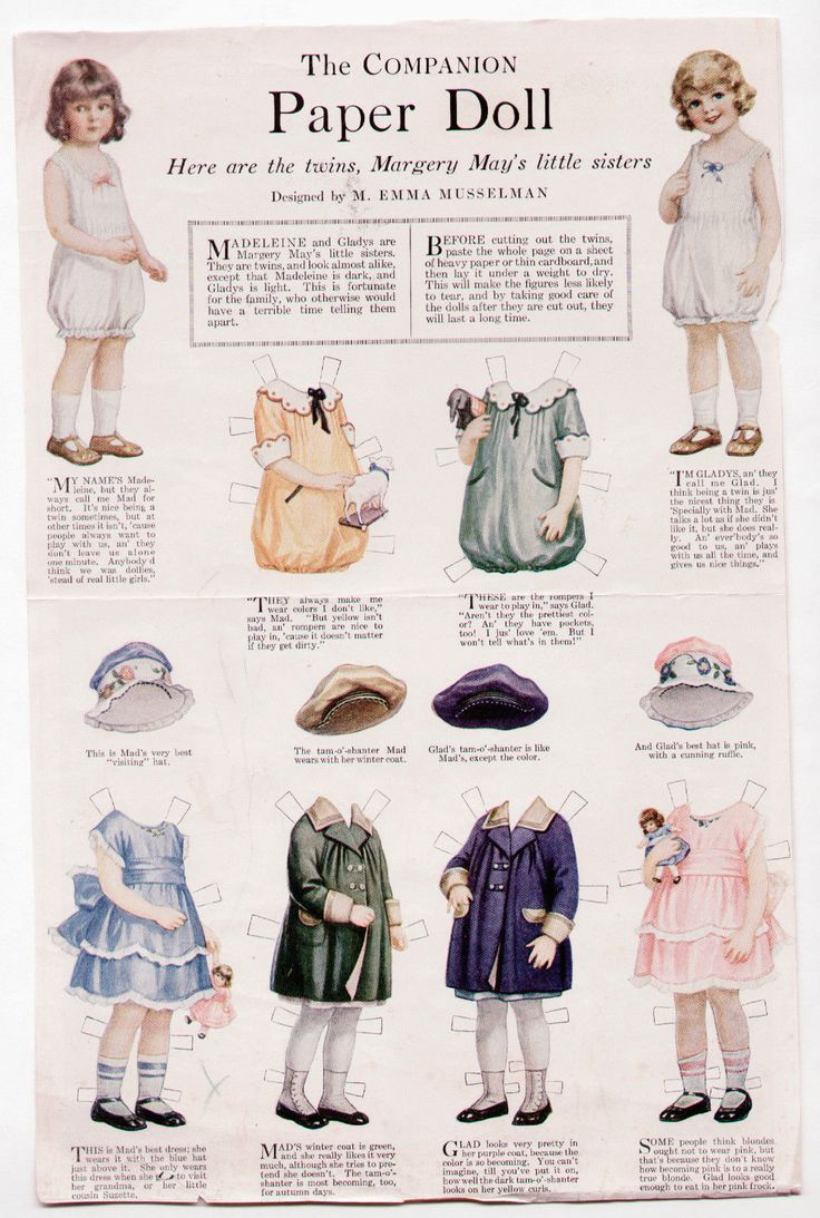 Vintage Margery May's Little Twin Sisters Paper Dolls 1920 Musselman Uncut WHC | eBay