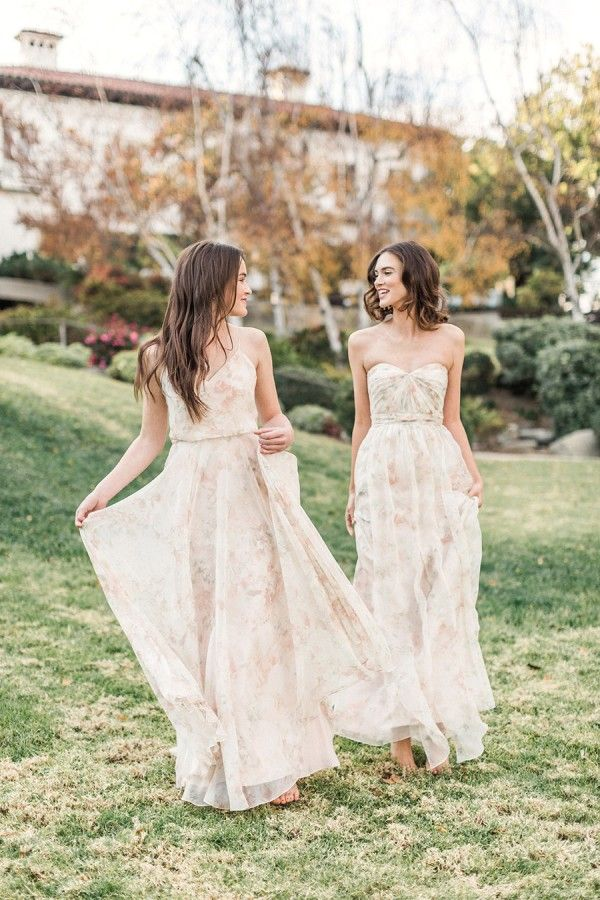 Jenny Yoo 2016 Mismatched Pink Printed Bridesmaid Dresses / http://www.deerpearlflowers.com/jenny-yoo-2016-bridesmaid-dresses/2/
