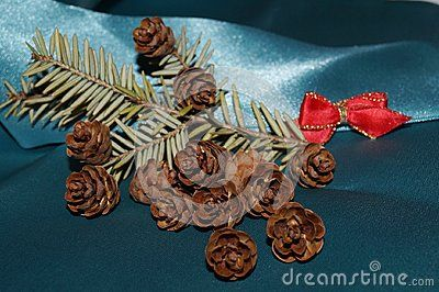 Christmas background - red bow, fir cones and fir twig