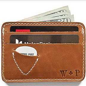 Driver's license? Check. Credit card? Check. Guitar pick? Check! With this smooth leather case, everything your favorite guitarist needs is stylishly kept right at their fingertips. Whipping + Post guitar pick card case. Type Guitar in search box. This link has a 10% discount applied at checkout. $43.95    redenvelope.com