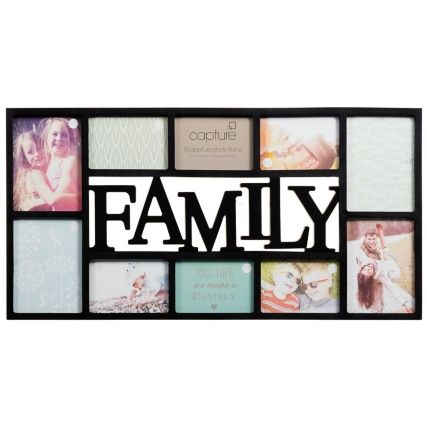 Family Multi Aperture Photo Frame - a beautifully crafted multi photo frame with a heart-warming 'Memories' s