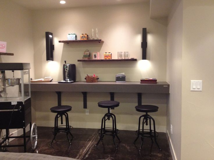Simple Counter with stools for backside of wall ue sk Basement dry bar