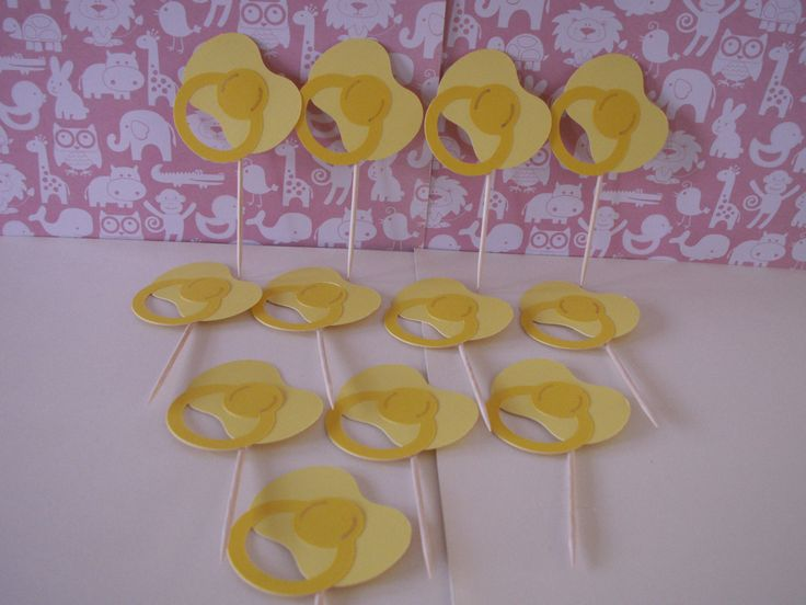 baby shower yellow pacifier cupcake toppers, cupcake toppers, cake toppers, binky cupcake toppers, binky toppers, pacifier toppers, pacifier by memories4alifetime on Etsy