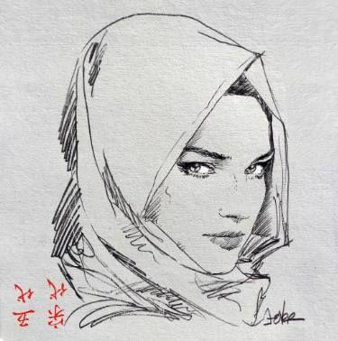 "Saatchi Art Artist LOUI JOVER; Drawing, ""hijab study #1"" #art"