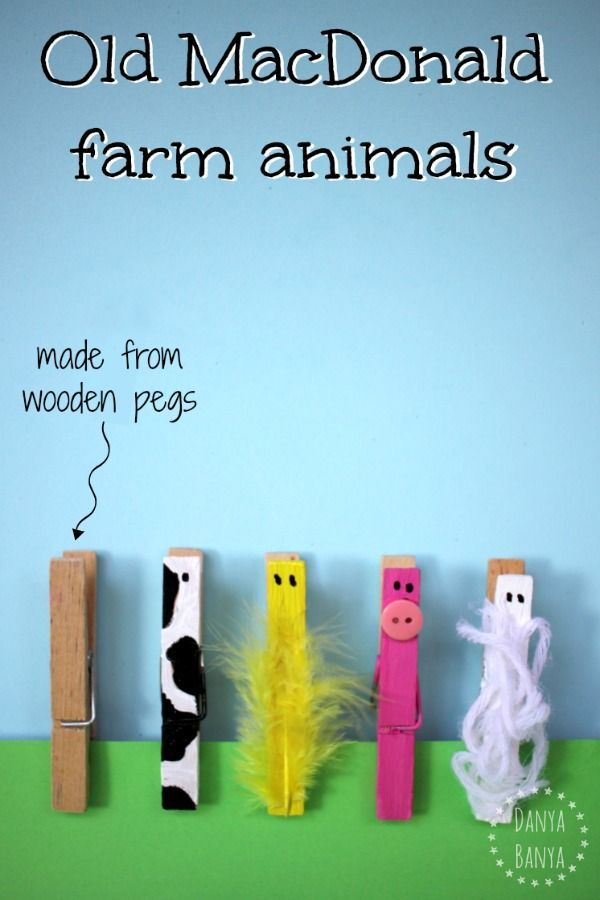 Old MacDonald farm animals made from wooden pegs