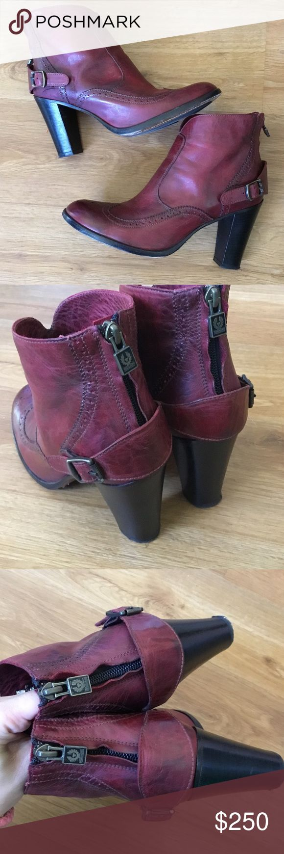 Belstuff burgundy leather ankle booties 39  Absolutely fabulous booties by Belstaff in excellent preowned condition this are super comfortable.Marked size 39 Belstaff Shoes Ankle Boots & Booties