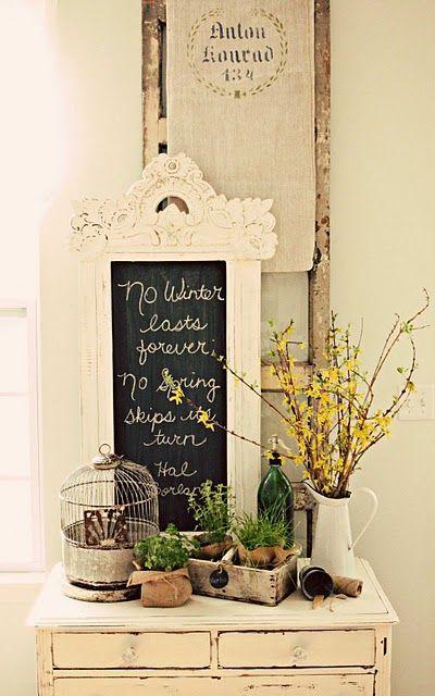 Spring!: Shabby Chic, Spring Decor, Decorating Ideas, Chalk Board, Winter Lasts, Chalkboard, Vignette, Shabbychic