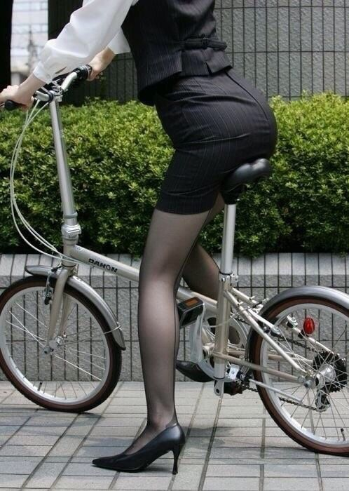 Mini bike, mini skirt and tights