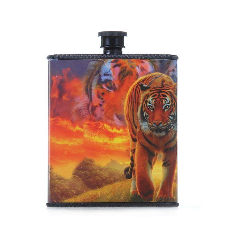 Burning Bright Tiger Hip Plastic Flask 7 oz, Tigerfn Shop