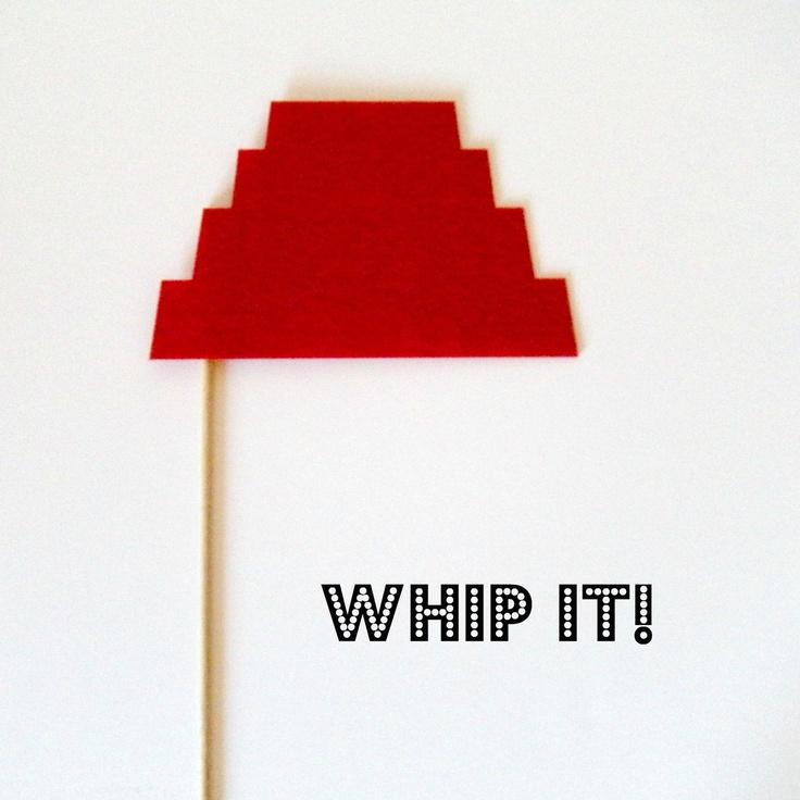 Photobooth prop Whip It, Devo. $3.00, via Etsy.