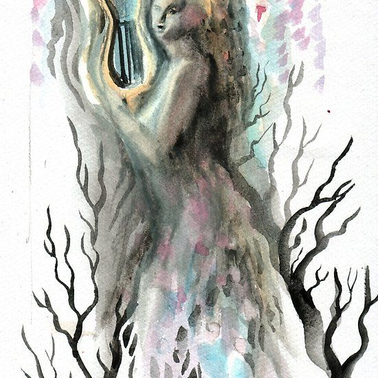 Princess of dreams or muse playing lyre, watercolor painting