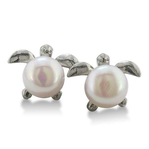 Super-Cute Turtle Shaped Freshwater Pearl Earrings