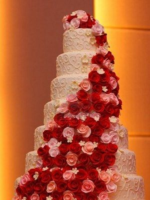7 tier wedding cake with red and pink roses  www.casadel.com.au