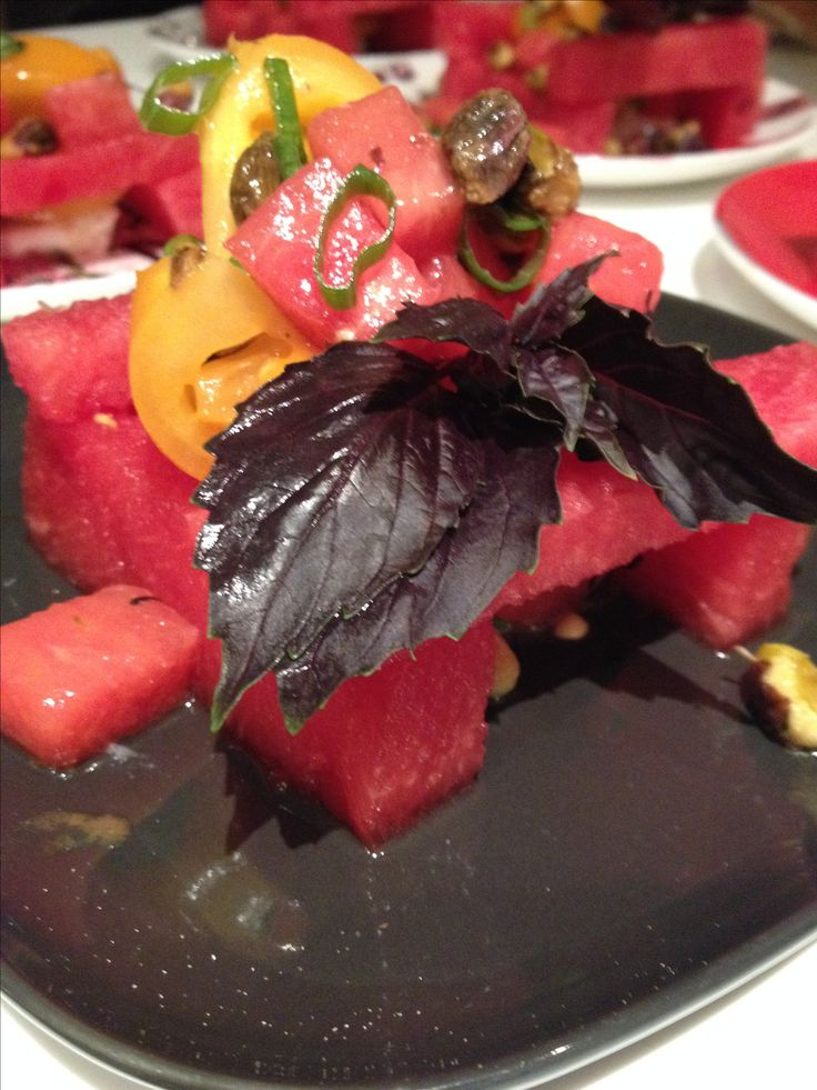 Recipe for Watermelon & Tomato Salad with Goat Cheese and Pistachios -