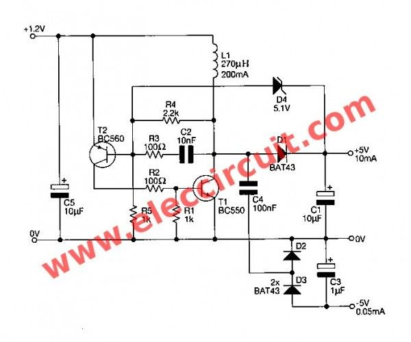 1 5v To 5v Boost Converter Circuit For Micro Computer Eleccircuit Com Micro Computer Circuit Converter