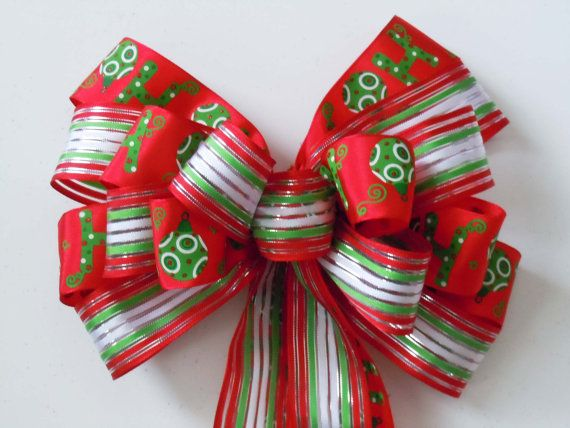 Red Green Christmas Wreath Bow Garland Bow by greentraderllc,