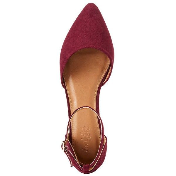 Charlotte Russe Faux Suede Pointed Toe D'Orsay Flats ($16) ❤ liked on Polyvore featuring shoes, flats, burgundy, pointed-toe flats, t-strap flats, monk-strap shoes, burgundy flats and charlotte russe flats