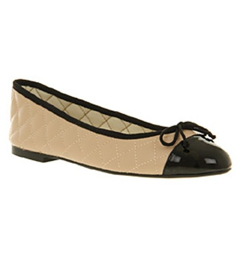 Office CECILIA TOECAP BALLERINA NATURAL LEATHER BLACK PATENT Shoes - Womens  Flats Shoes - Office Shoes
