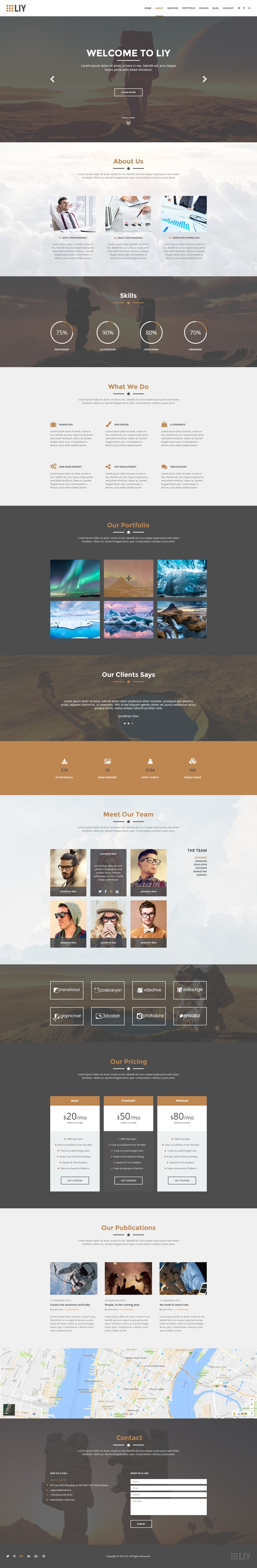 8195 template - Liy One Page Psd Template