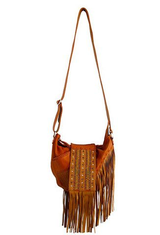 Luvia Leather Fringe Festival Bag in Tan by Lokoa at The Freedom State