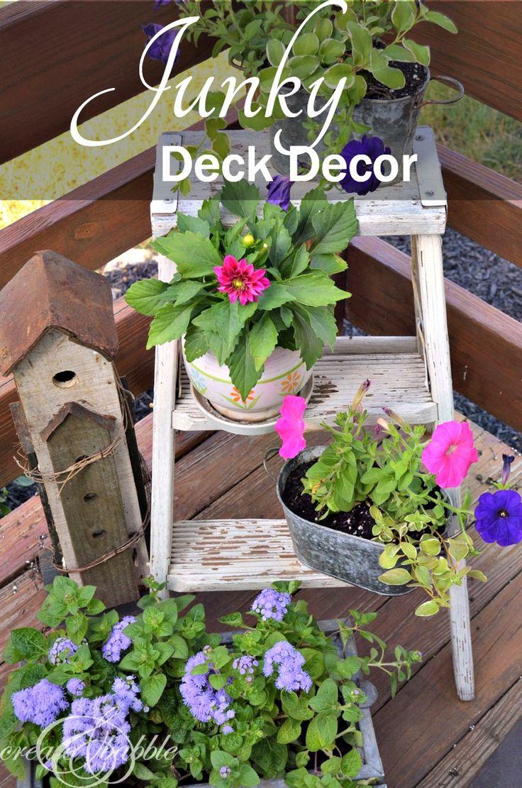 Homemade garden art ideas - Junky Deck Decor